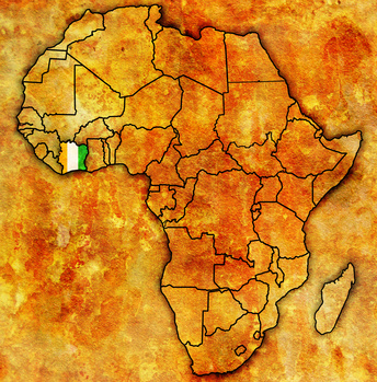 ivory coast on actual map of africa