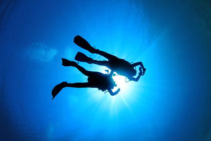 Couple Scuba Diving silhouette
