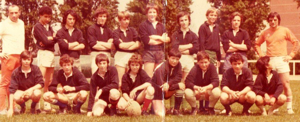 JM Gros 1ère équipe cadette 1974-75 avec André Dauga