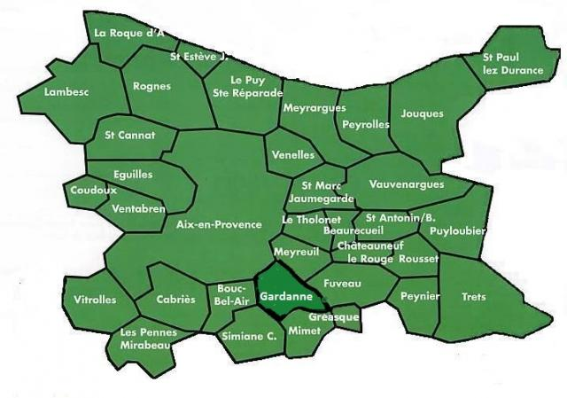 carte du Pays d'Aix