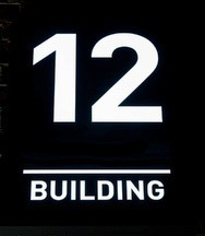 Building number 12. Numberplate
