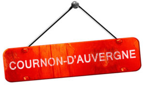cournon d'auvergne, 3D rendering, a red hanging sign