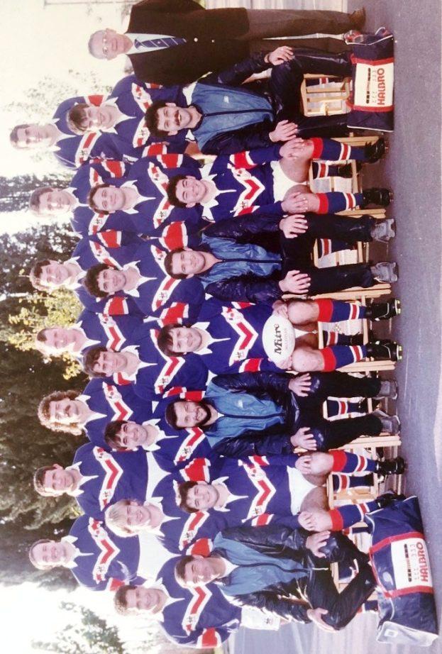 1986: Guy (3ème à gauche au 1er plan) aux manettes de France A avec Tas Baitieri